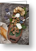 Serving Piece Greeting Cards - Figs And Cheese Greeting Card by Lew Robertson/Fuse