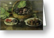 Figs Greeting Cards - Figs in a basket Greeting Card by Pamir Thompson
