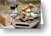 Serving Piece Greeting Cards - Figs With Burrata Cheese Greeting Card by Lew Robertson/Fuse