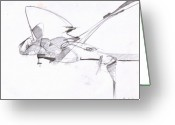 Draftsman Greeting Cards - Figure Darwing 10 Greeting Card by Michal Rezanka
