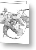 Draftsman Greeting Cards - Figure Drawing 2010 2 Greeting Card by Michal Rezanka