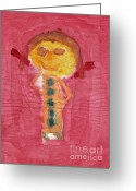 Art Education Greeting Cards - Figure Look Like Child Painting Greeting Card by Michal Boubin