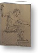 Residential Drawings Greeting Cards - Figure on a Rock Greeting Card by Sarah Parks