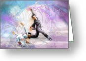 Sports Art Drawings Greeting Cards - Figure Skating 02 Greeting Card by Miki De Goodaboom