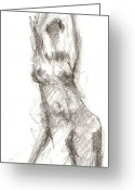 Draftsman Greeting Cards - Figure Study 3 Greeting Card by Michal Rezanka