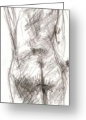 Draftsman Greeting Cards - Figure Study 4 Greeting Card by Michal Rezanka