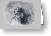Graphite Mixed Media Greeting Cards - Figure Study Greeting Card by Thomas Luca