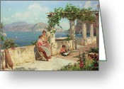 Vases Greeting Cards - Figures on a Terrace in Capri  Greeting Card by Robert Alott