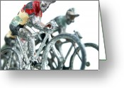 Cyclist Greeting Cards - Figurines Greeting Card by Bernard Jaubert