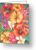 Silk Art Greeting Cards - Fiji Flowers III Greeting Card by Maria Rova