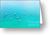Azure Blue Greeting Cards - Filipino boats Greeting Card by MotHaiBaPhoto Prints