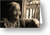 Older Woman Photo Greeting Cards - Filipino Lola - Image 14 Sepia Greeting Card by James Bo Insogna