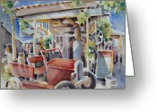 Pickup Painting Greeting Cards - Fill er Up Greeting Card by Joan  Jones