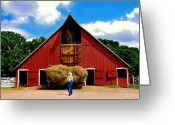 Old Photo Greeting Cards - Filling the Haymow Greeting Card by Lyle  Huisken