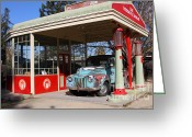 Gas Stations Greeting Cards - Filling Up The Old Ford Jalopy At The Associated Gasoline Station . Nostalgia . 7D12880 Greeting Card by Wingsdomain Art and Photography