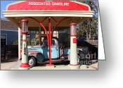Gas Stations Greeting Cards - Filling Up The Old Ford Jalopy At The Associated Gasoline Station . Nostalgia . 7D12883 Greeting Card by Wingsdomain Art and Photography