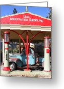 Gas Stations Greeting Cards - Filling Up The Old Ford Jalopy At The Associated Gasoline Station . Nostalgia . 7D12884 Greeting Card by Wingsdomain Art and Photography