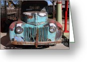 Gas Stations Greeting Cards - Filling Up The Old Ford Jalopy At The Associated Gasoline Station . Nostalgia . 7D12885 Greeting Card by Wingsdomain Art and Photography