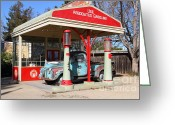 Gas Stations Greeting Cards - Filling Up The Old Ford Jalopy At The Associated Gasoline Station . Nostalgia . 7D12897 Greeting Card by Wingsdomain Art and Photography