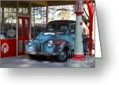 Old Trucks  Greeting Cards - Filling Up The Old Ford Jalopy At The Associated Gasoline Station . Nostalgia . 7D13021 Greeting Card by Wingsdomain Art and Photography