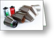 Old Photo Greeting Cards - Film and Canisters Greeting Card by Carlos Caetano