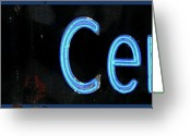 Neon Art Greeting Cards - Film Center Vintage Blue Sign Greeting Card by AdSpice Studios