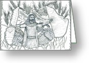 Pen And Ink Drawing Drawings Greeting Cards - Final Harvest Greeting Card by Glenn McCarthy Art and Photography