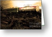 Tanker Train Greeting Cards - Final Stop Express . sepia . 7D8995 Greeting Card by Wingsdomain Art and Photography