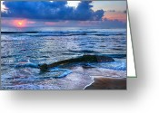 Shipwreck Greeting Cards - Final Sunrise - Beached Boat on the Outer Banks Greeting Card by Dan Carmichael