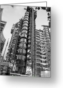 Lime Photo Greeting Cards - Finance The Lloyds Building in the City Greeting Card by Chris Smith
