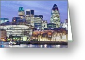 Sir Greeting Cards - Financial City Skyline, London Greeting Card by John Harper