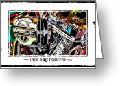 Motorcycle Art Greeting Cards - Fine Art Chopper II Greeting Card by Mike McGlothlen