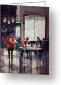 Waiter Greeting Cards - Fine Dining Greeting Card by Ryan Radke