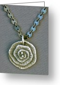 Silver Jewelry Greeting Cards - Fine silver Op-Art pendant Greeting Card by Mirinda Kossoff