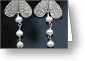 Silver Jewelry Greeting Cards - fine silver Wings earrings Greeting Card by Mirinda Kossoff