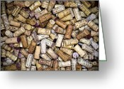 Cabernet Sauvignon Greeting Cards - Fine Wine Corks Greeting Card by Frank Tschakert