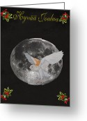 Lesvos Greeting Cards - Finish Barn owl Merry Christmas Greeting Card by Eric Kempson
