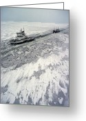 Freight Greeting Cards - Finland, Ice-breaker Making Way Greeting Card by Keenpress