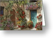 Card Greeting Cards - Fiori In Cortile Greeting Card by Guido Borelli