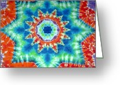 Lotus Tapestries - Textiles Greeting Cards - Fire And Ice Greeting Card by Jason Shirek