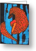 Blues Reliefs Greeting Cards - Fire and Ice Pangolin Greeting Card by Sean Ward
