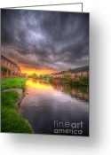 Sunset Framed Prints Greeting Cards - Fire And Storm Greeting Card by Yhun Suarez