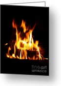 Ignite Greeting Cards - Fire Background Greeting Card by Gualtiero Boffi