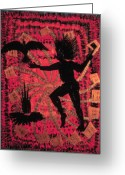 Fire Dance Painting Greeting Cards - Fire Dance Greeting Card by Ione Citrin