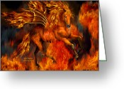 Horse Art Giclee Greeting Cards - Fire Dancer Greeting Card by Carol Cavalaris
