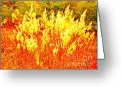 Landscape Glass Art Greeting Cards - Fire Dances Greeting Card by Chuck Taylor