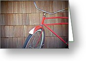 Old Bike Greeting Cards - Fire Engine Red Greeting Card by Mg Rhoades