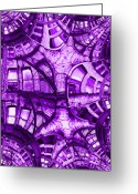 Violet Blue Digital Art Greeting Cards - Fire Escape Fractal 2 Greeting Card by Tim Allen