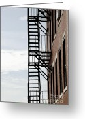 Staircase Greeting Cards - Fire escape in Boston Greeting Card by Elena Elisseeva