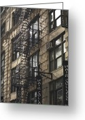 Bannister Tapestries Textiles Greeting Cards - Fire Escape On Exterior Of Building In Manhattan Greeting Card by Keith Levit Photography